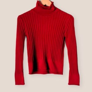 Vintage 90s Red Turtleneck Sweater Size S